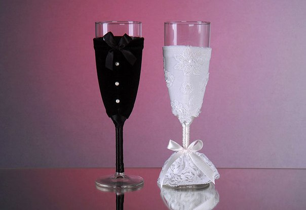 59 - Украшаем бокалы на свадьбу своими руками