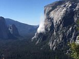 Terrifying: Climber Ryan Sheridan posted this image of the moment hundreds of tons of rock hurtled past him while he was 2,000ft up El Capitan in Yosemite and killed one person below. The fatality was a British man who identity has yet to be released. His partner who was with him was badly hurt in the incident, according to a park spokesperson