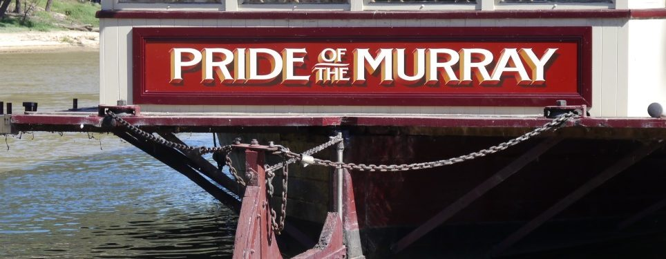 Handpainted sign for Pride of the Murray paddlesteamer echuca