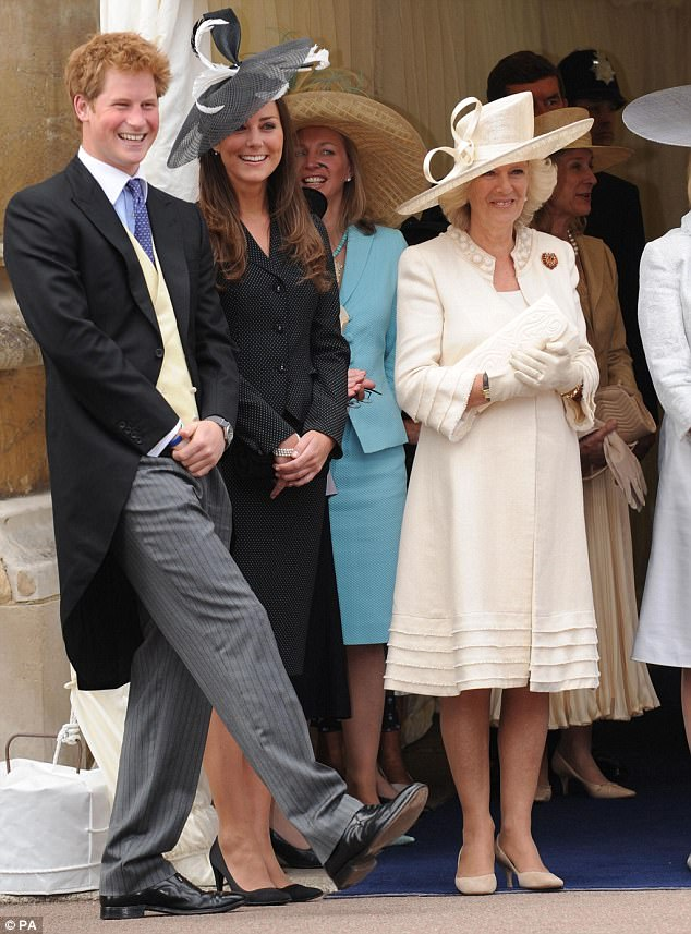 Kate Middleton wore a polka dot blazer and matching knee length skirt when she attended the Garter Day Service in June 2008 alongside Prince Harry, left, and the Duchess of Cornwall