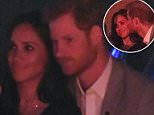 Kiss from her prince: Harry was pictured kissing his girlfriend in the darkened box at the closing ceremony of the games