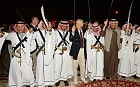 The Prince of Wales joins in with a traditional Sword dance in the old town of Al Ula in north west Saudi Arabia, on the fifth day of his tour to the Middle East.