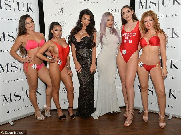 Swim-suits you! Chloe and Katie posed with an array ofMiss Swimsuit hopefuls on the night