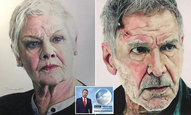 BBC weatherman's portraits of Will Smith And Judy Dench