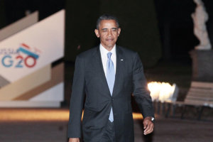 President Barack Obama walks after the first day of the G20 Summit on September 5, 2013 in St. Petersburg, Russia.