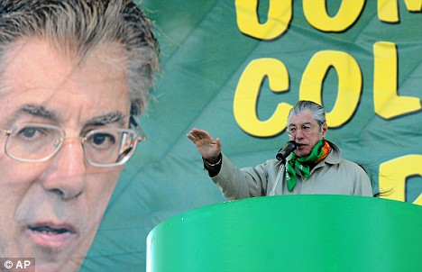 Italy's Minister of Reforms and Northern League party leader Umberto Bossi