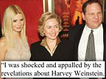 Finally: Hillary Clinton's statement, issued after three rape allegations were leveled at Weinstein and Gwyneth Paltrow and Angelina Jolie said he harassed them