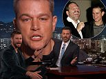 Back to fun and games: Matt Damon appeared on Jimmy Kimmel Live amid the fallout from the Harvey Weinstein sex abuse scandal on Tuesday