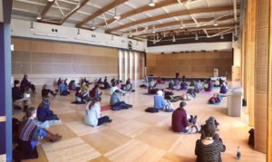 Katie Evans leading a meditation class at UW.