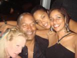 OJ Simpson is pictured with his girlfriend Christie Prody (L) and her friend Sandy (R) on September 13, 2007, hours after the armed robbery which he served nine years in jail for