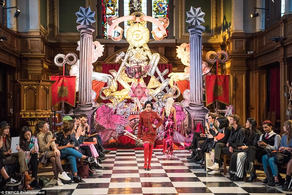 Fortune teller: St Andrews Church in London was transformed into a catwalk for London Fashion Week. The set design takes inspiration from tarot card imagery