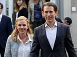 Conservative Sebastian Kurz, 31, is set to take power and form an alliance with the far-right. He is pictured today with his girlfriend Susanne Thier