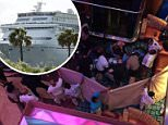 An eight-year-old girl died Saturday morning after falling off the second-story balcony of a cruise ship