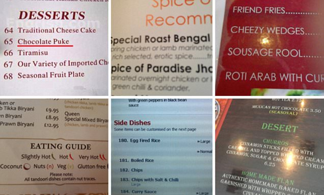 The worst takeaway menu mistakes in funny pictures