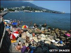 Tourists in Yalta