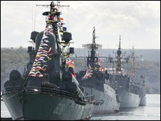 Russian ships in Sevastopol celebrating the 225th anniversary of the Black Sea Fleet on 11 May 2008