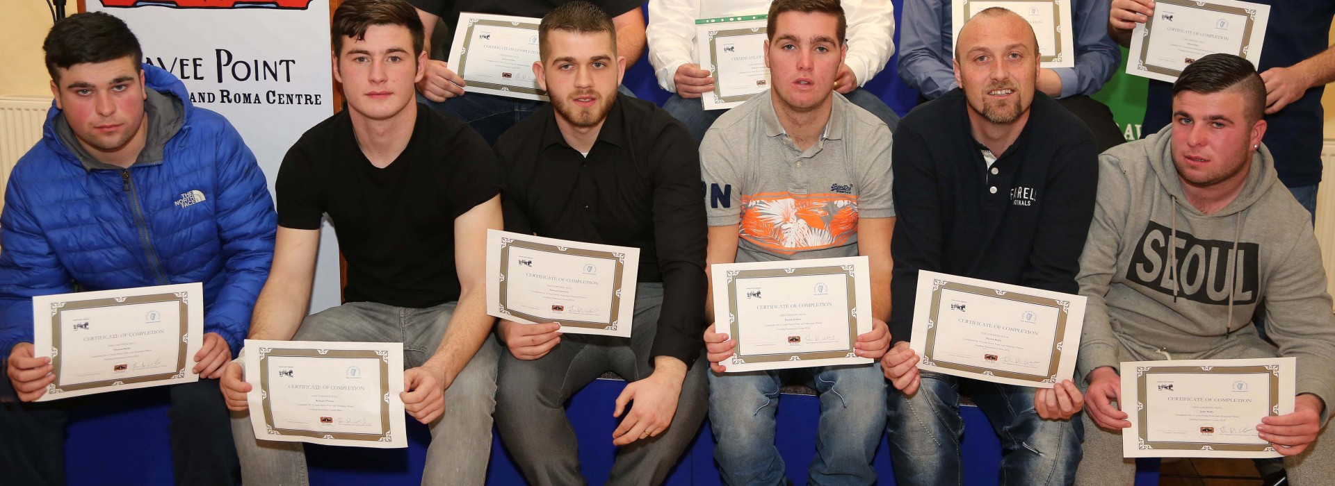 Some of the graduates from the Mountjoy Prison Feuding Deterrence Course. ©Photo by Derek Speirs