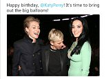 Ellen DeGeneres (center) was slammed for posting a tweet about Katy Perry's breasts
