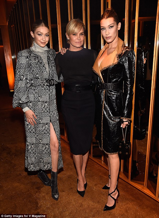 Work it! Bella, 21, and Gigi Hadid, 22, kept up appearances with their former model mother Yolanda Foster at the party