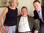 Christina Baker Kline claims Bush's wandering hands were caught  in this official photo from a Houston event for the Barbara Bush Foundation for Family Literacy in 2014