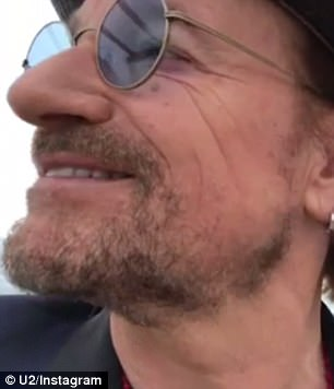 Happy as can be: Bono took to the official U2 Instagram account to share a video of himself and his bandmates at the Fasano Hotel waiting to go to the ceremony