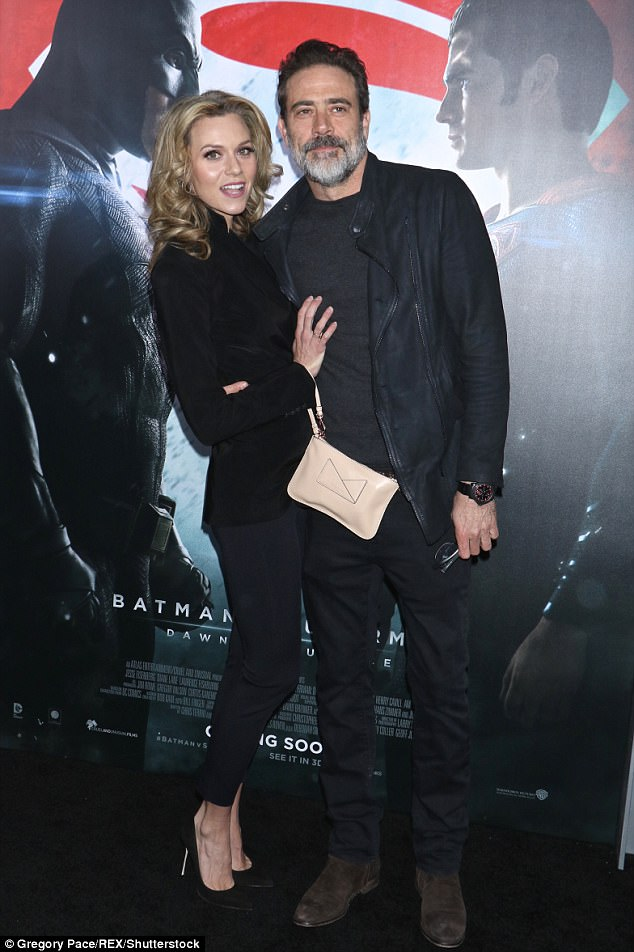 Proud: Jeffrey Dean Morgan has revealed he 'couldn't be more proud' of his wife Hilarie Burton after she spoke out against Ben Affleck for groping her (pictured at the premiere of Affleck's Batman V Superman in March 2016)