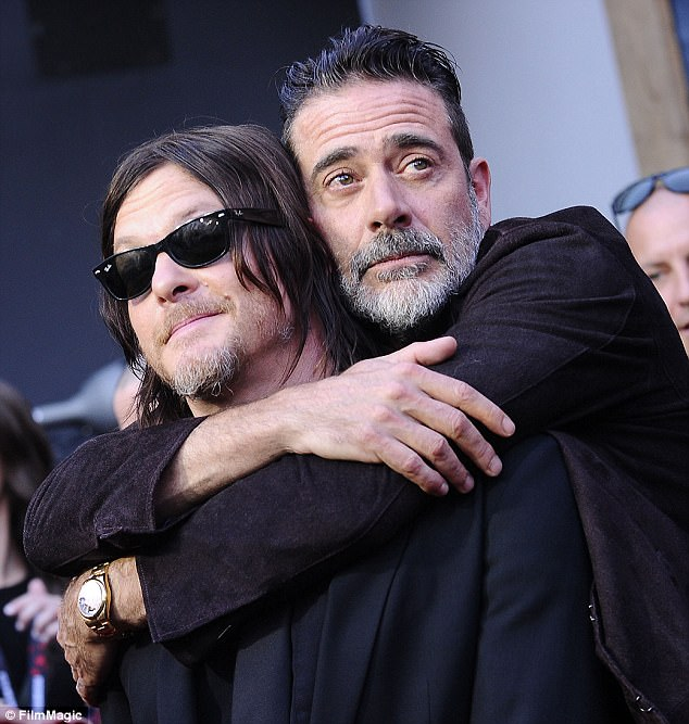 Lots of love: Actors Norman Reedus and Jeffrey Dean Morgan looked close-as-can-be during the event