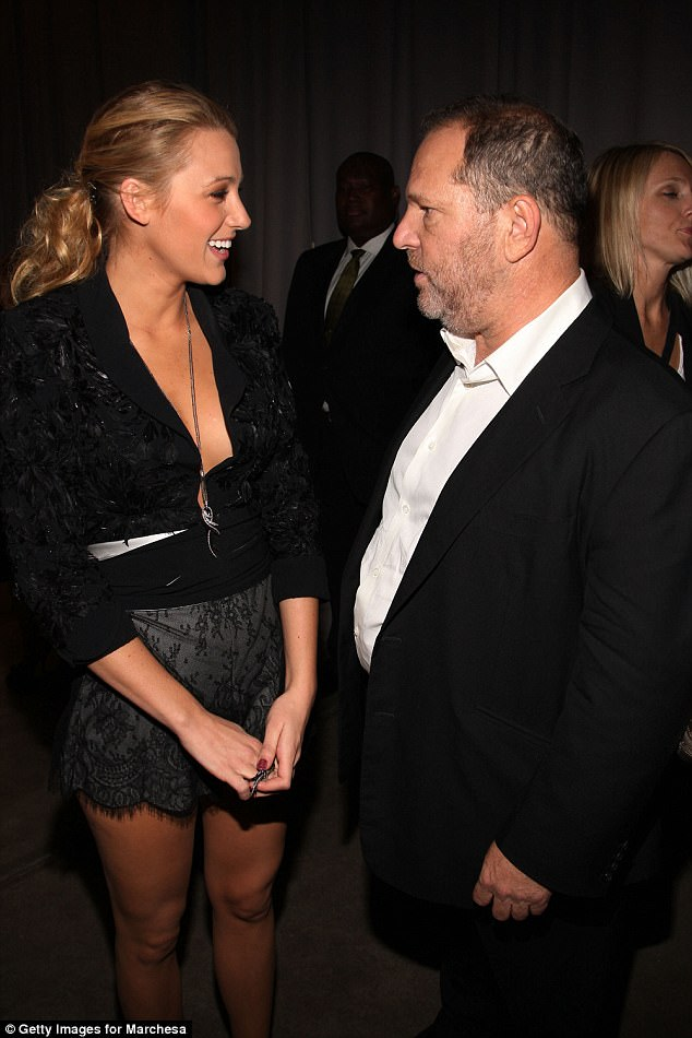 Disgraced:At least 30 women in the film business have accused Weinstein of rape, groping and sexual harassment over a three-decade period (pictured with Blake in September 2009)