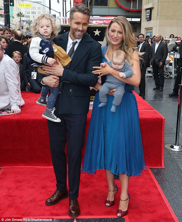 Happy family:Blake raises her two daughters, James, two, and Ines, 13 months, with actor husband Ryan Reynolds, 40 (pictured in December 2016)