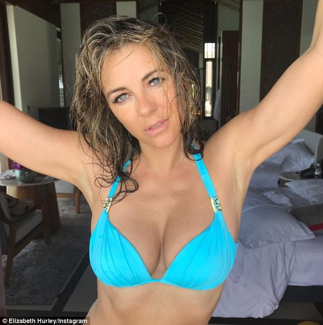 Age-defying: The latest bikini display comes as the actress has been keeping fans updated with her idyllic trip and sizzled as she shared yet another snap of herself sporting her scanty swimwear, that made sure to draw attention to her bust