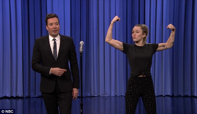 Go time: Miley Cyrus definitely brought her A-game on Friday, when she went up against Jimmy Fallon in a Lip Sync Battle on the Tonight Show