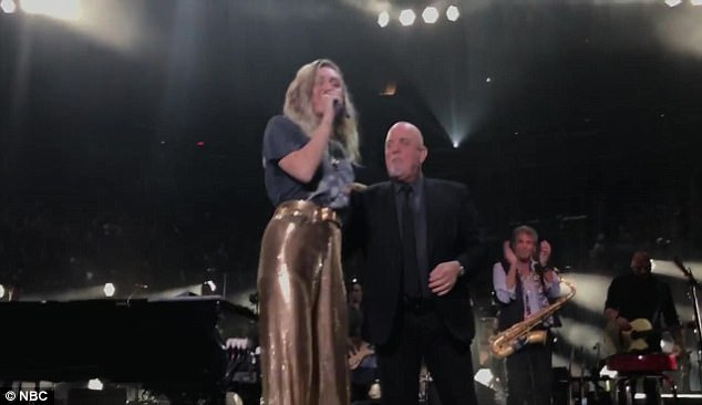 Power couple: Later in the show, instead of having Miley sing a tune as usual, Jimmy decided to share a clip of the pop star joining Billy Joel on stage at Madison Square Garden the week before