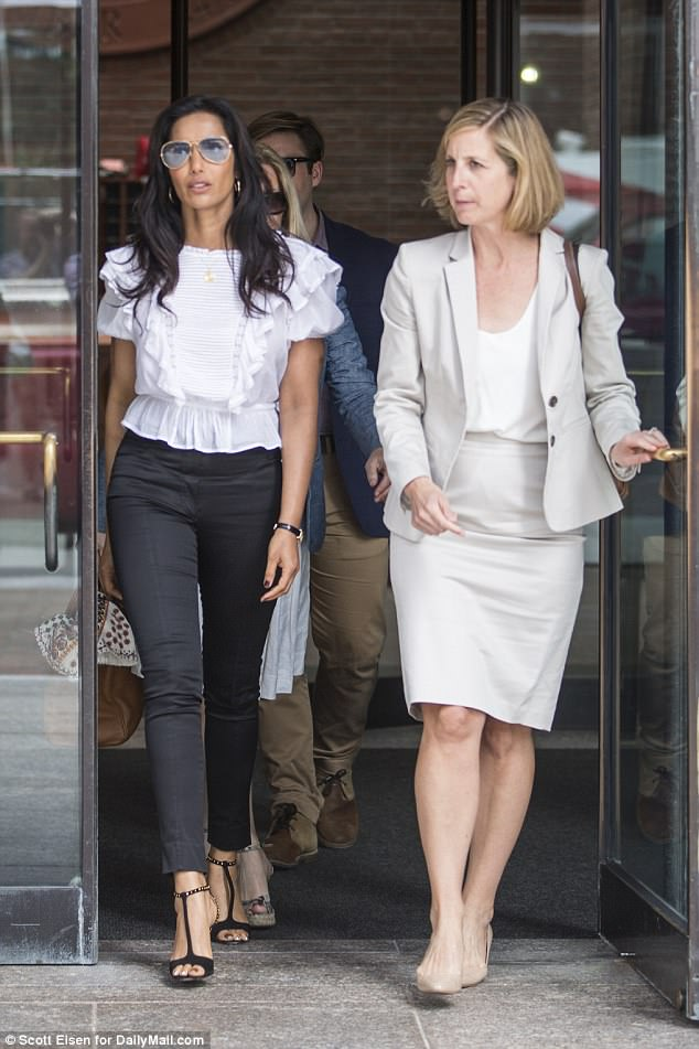 Dressed in a white frilly top and skinny black pants, Padma leaves Boston Federal Court after testifying about her encounter with Teamsters on Monday