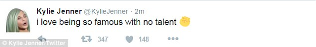 Ouch: This comes more than a year after Kylie's Twitter account was hacked in June 2016 with one of the most biting posts reading: 'I love being famous with no talent'