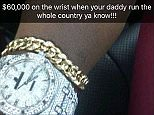 Chatunga Bellarmine Mugabe earlier uploaded a picture of the garish watch to Instagram