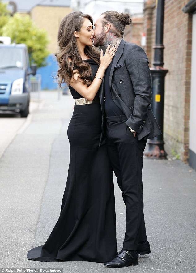 Affection: The pair packed on the PDA when they shot scenes for TOWIE in Essex just last month
