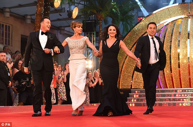Here they come! The dance pro, 56, looked flawless as she stepped out with fellow judges L-R,Craig Revel Horwood, Darcey Bussell and Bruno