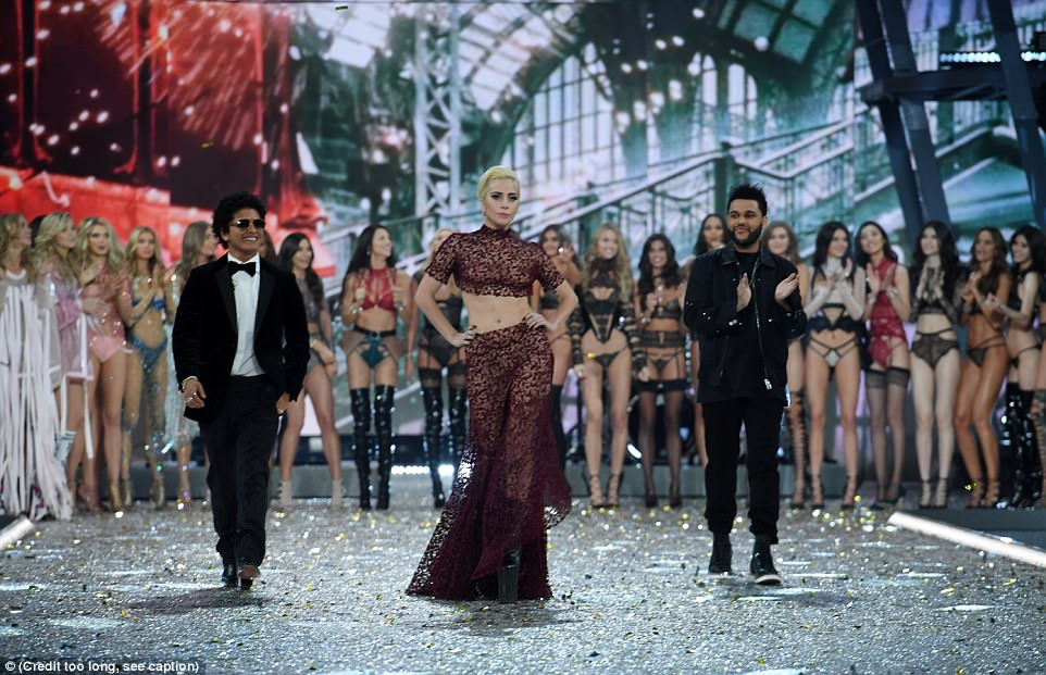 Lavish affair: Every year a slew of famous faces accompany the models on stage and perform at the event; Bruno Mars, Lady Gaga and The Weeknd had taken to the stage last year in Paris
