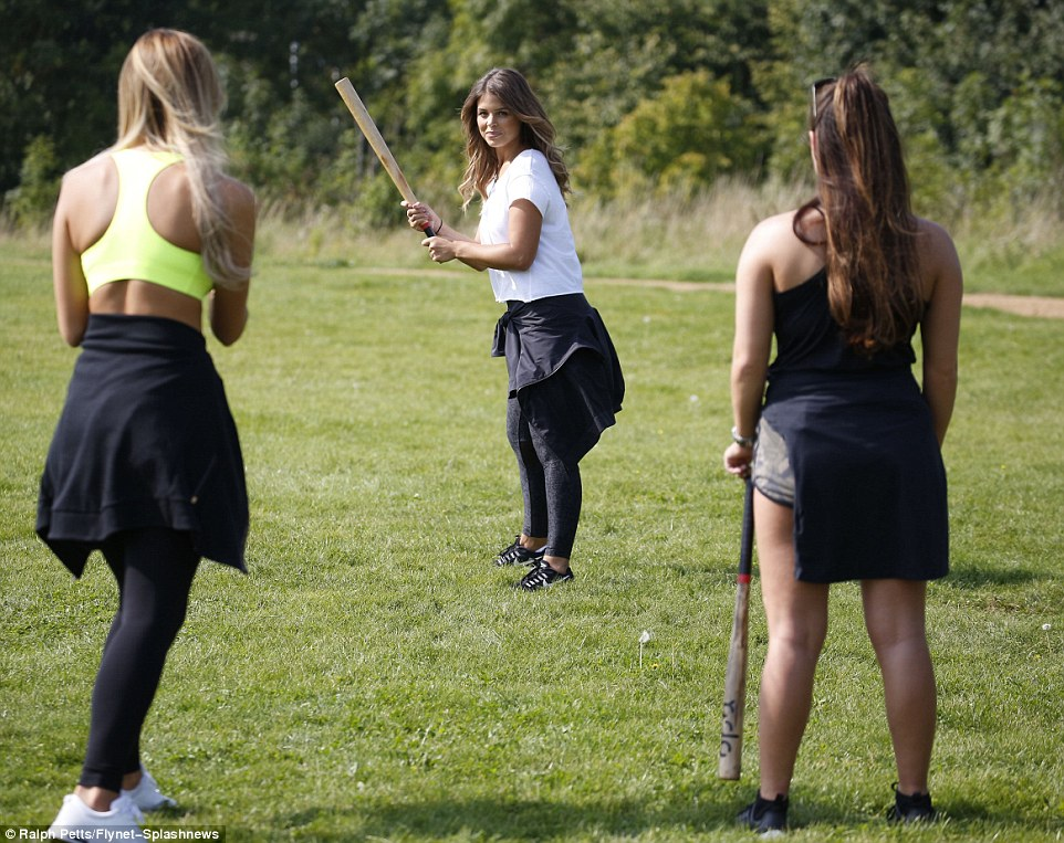 Taking her turn! Chloe kept her look casual in leggings and a loose white T-shirt, wearing her hair down loose