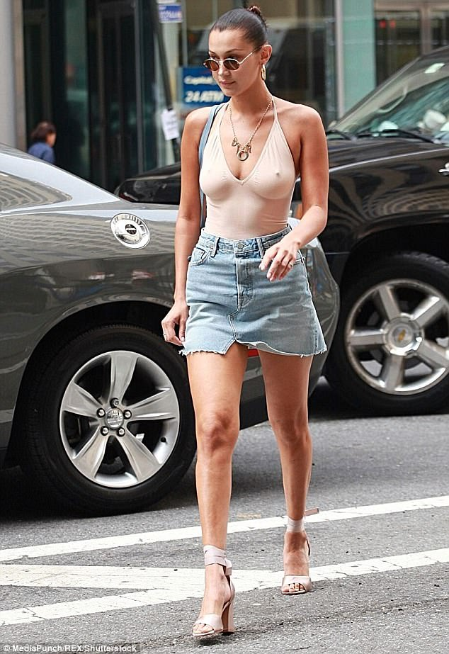 Supermodel strut:Bella added height to her already statuesque frame with a pair of pale pink satin heels with an ankle strap