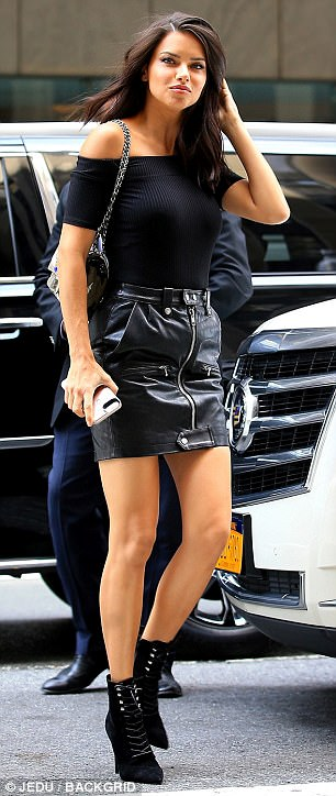 Stepping out in style: Original AngelAdriana Lima ensured all eyes were on her as she left the the Manhattan building