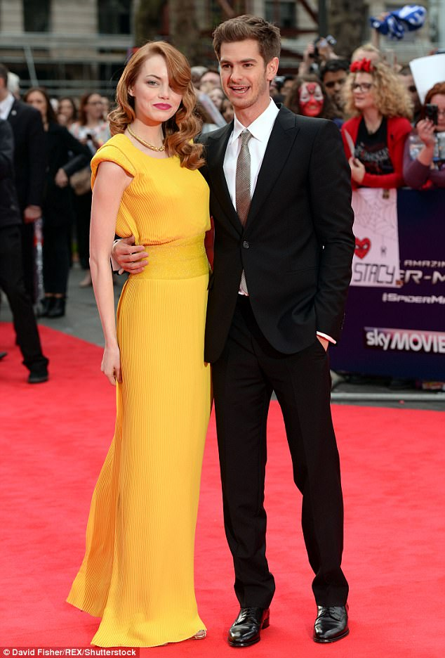 Another reason to smile:Emma and ex-boyfriend Andrew Garfield, 33, - who she dated for four years - are also said to be growing close once again (pictured in April 2014)