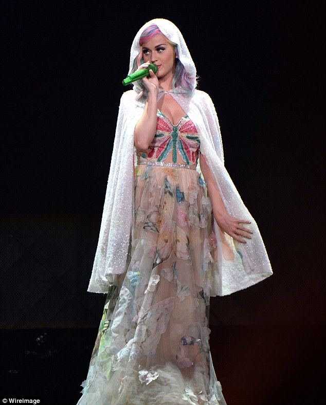 Tour injury: Katy Perry is shown performing in June 2014 in Raleigh, North Carolina the night a a stage hand claimed she suffered a serious foot injury