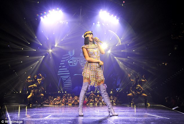 Belting it out:Katy, shown in June 2014, closed her epic 151-show 'Prismatic World Tour' in Costa Rica in October 2015, during which she performed hits from her fourth studio album 'Prism'