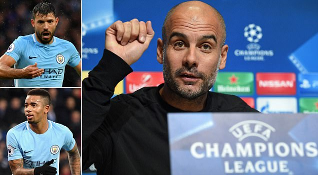 Aguero and Gabriel Jesus 'cannot play together': Guardiola