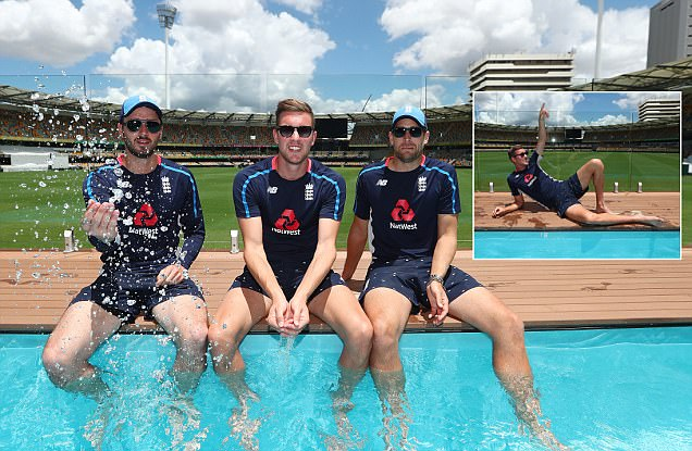 England cricketers cool off at The Gabba Pool Deck