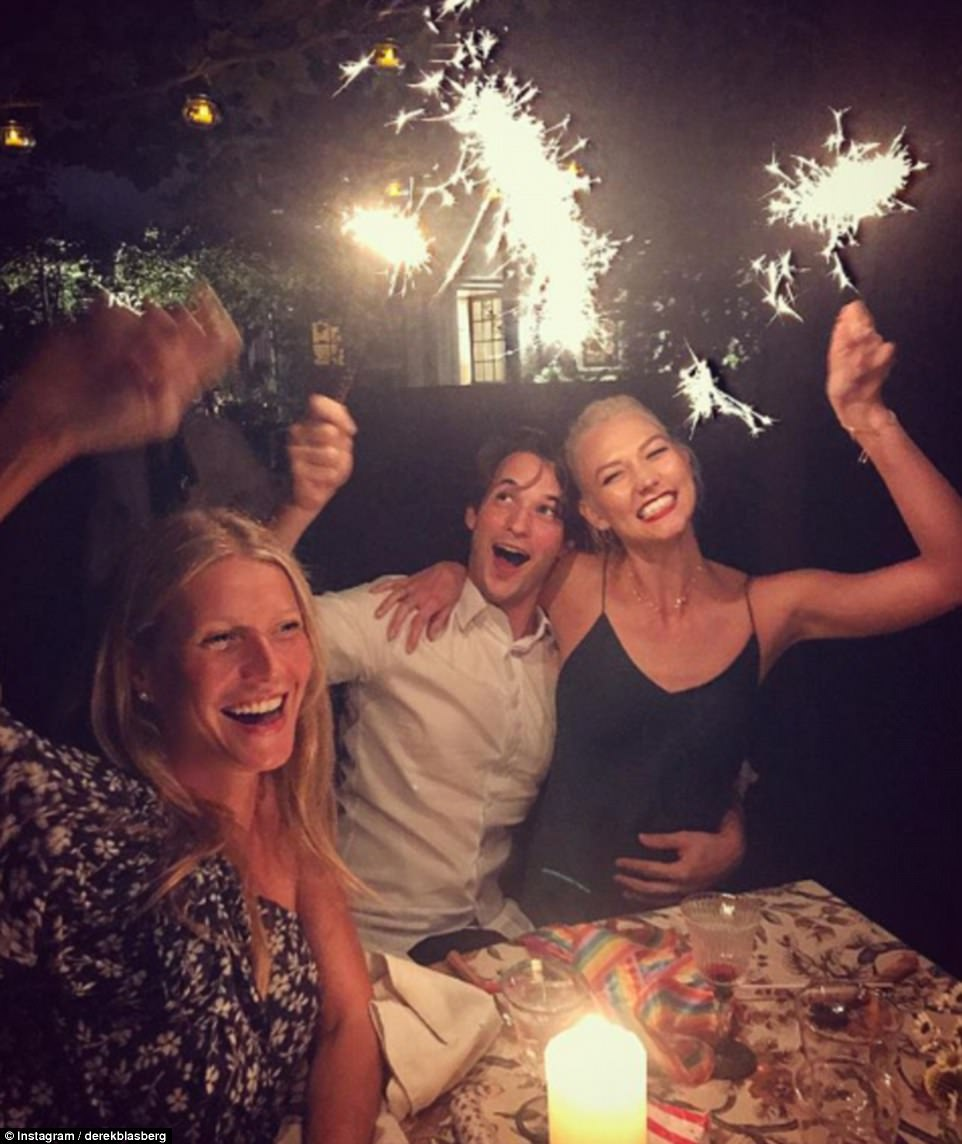 Having a blast: Derek shared a similar photo of Gwyneth, Nick, and Karlie that evening; Dasha was also thought to be in attendance, having been with group earlier in the day