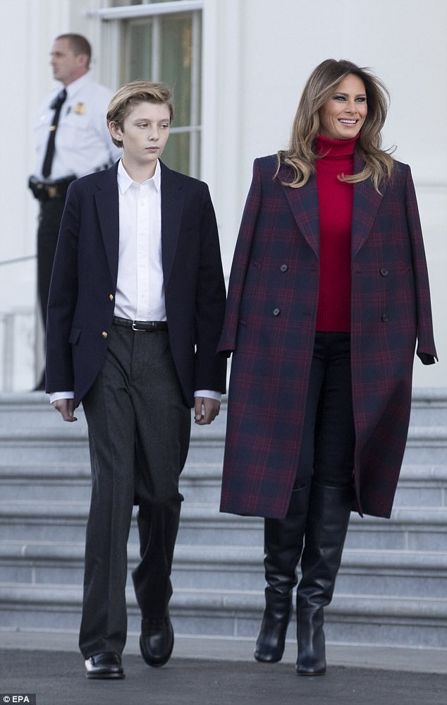 Melania donned a $1600 Calvin Klein plaid coat for the occasion