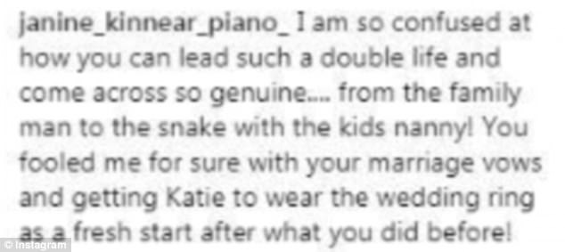 Hitting out:Meanwhile, Kieran has been targeted by nasty trolls who have flooded his Instagram with comments of the snake emojis, while other's have come to the defence of Katie and bashed him for leading a 'double life'