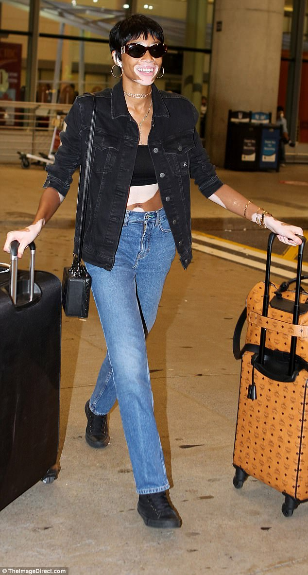 Looking good: Winnie Harlow, who has the skin condition vitiligo, certainly looked the height of body-confident on Tuesday, as she touched down in Toronto
